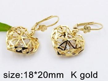 Náušnice zlatá ocelová Srdce 20338