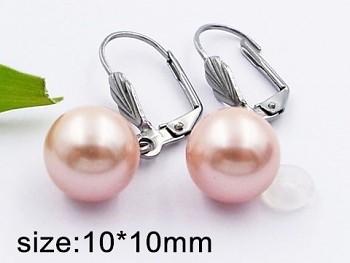 Náušnice  chirurgická ocel perličky růžové  20406
