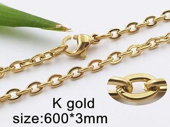 Řetízek 60 cm z chirurgické  oceli  zlatý 20429