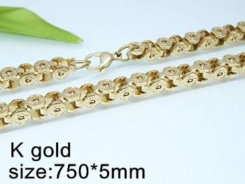 Řetízek z chirurgické oceli 75 cm, zlatý 20431