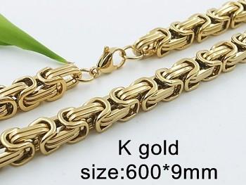 Mohutnější zlatý řetěz z oceli byzantský vzor 20432