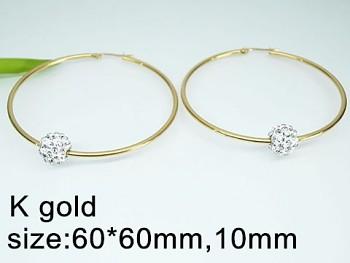 Náušnice zlaté Kruhy 6 cm ocelové s kuličkou 20328A