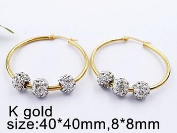 Náušnice Kruhy zlaté 4,5 cm z oceli 20478