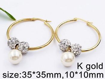Náušnice Kruhy 3,5 cm zlaté s kuličkami 20479