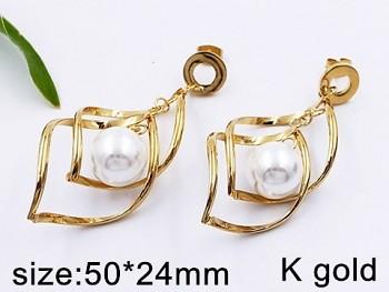 Náušnice zlaté ocelové s perlou 20488