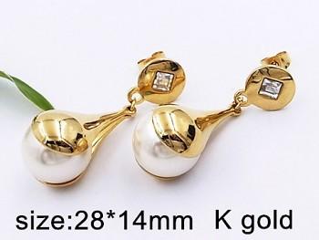 Náušnice zlaté visací s perlou 20492