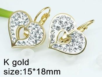 Náušnice z chirurgické oceli zlaté Srdce 20484