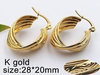 Náušnice zlaté ocelové Kruhy 20525