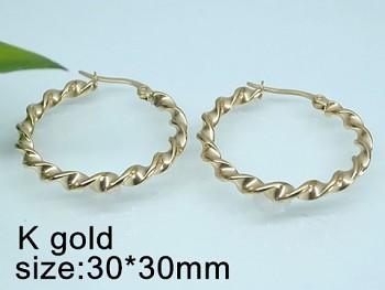 Náušnice z chirurgické oceli zlaté Kruhy 20528