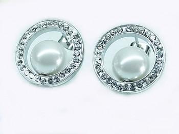Náušnice z chirurgické oceli s bílou perličkou 20569