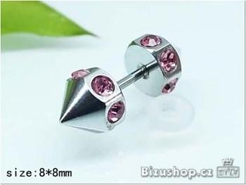 Piercing růžové kamínky chirurgická ocel 18054