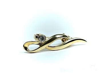 Brož zlatá  6935, 4 cm na 0,8 cm, Jablonecká bižuterie