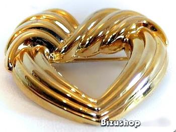Brož srdce zlatá úprava 3,5 cm na 3,5 cm, Jablonecká bižuterie