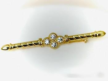 Brož štrasová zlatá Jablonecká bižuterie