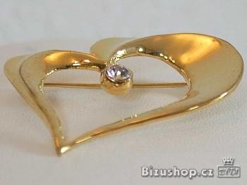 Brož srdce  zlaté výška 3,5 cm šířka 4,5 cm