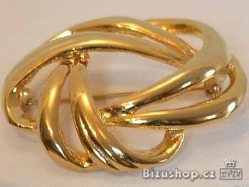 Brož zlatá 4,3 cm na 3,8 cm, Jablonecká bižuterie
