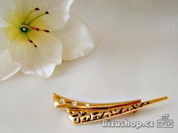 Brož zlatá zdobená jablonecká bižuterie 5817
