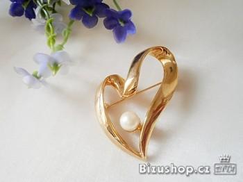 Brož Srdce s perličkou 5542