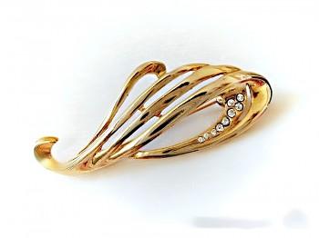 Brož zlatá štras krystal 7 cm na 3 cm, JABLONECKÁ BIŽUTERIE