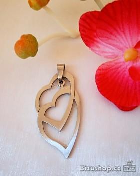 Přívěsek z oceli dvojité srdce 1503503