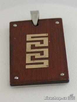 Přívěsek z chirurgické oceli , exotické dřevo 1513803