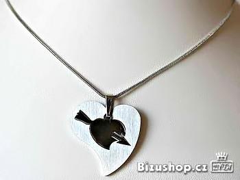 Chirurgická ocel přívěsek Srdce s řetízkem 15057