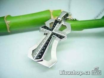 Přívěsek kříž z oceli Love Kiss 16437