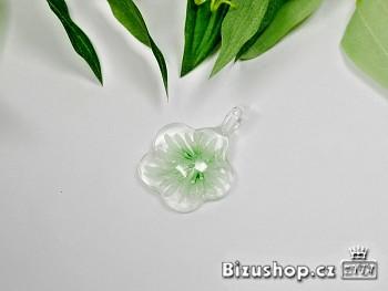 Skleněný přívěsek zelená Květina 284207