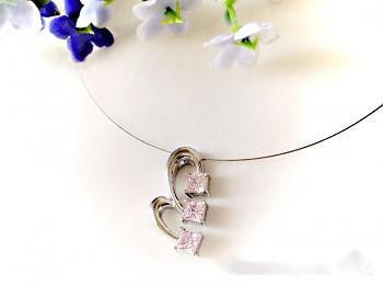 Zyta náhrdelník Srdce na lanku z oceli 15977