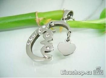 Přívěšek z oceli zirkon LOVE 16361