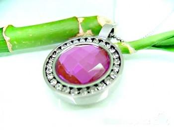 Ocelový přívěsek růžový skleněný kámen 15921
