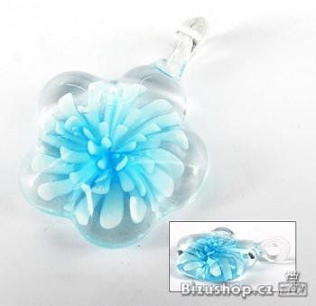 Skleněný přívěsek modrá Květina 2842