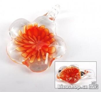 Skleněný přívěsek oranžová Květina 2842A