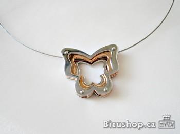 Náhrdelník Lanko z oceli Motýl 16129