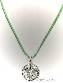 Zyta Náhrdelník přívěsek s růží větru 11202, zelená kožená šnůrka