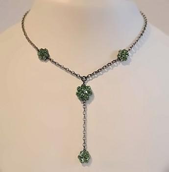 Náhrdelník štrasový kytičky zelená 3081802