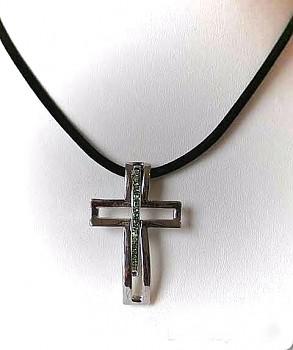 Náhrdelník s přívěskem Kříž zelený