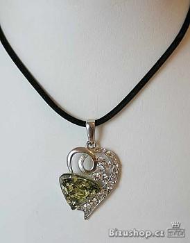 Zyta Náhrdelník přívěsek Srdce v zelené 269101