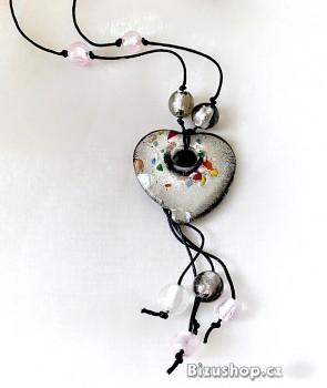 Náhrdelník skleněné  Srdce 32188A
