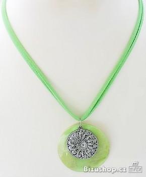 Náhrdelník přívěšek perleť zelený 3235102
