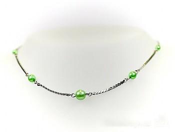 Náhrdelník zelené perličky 59601