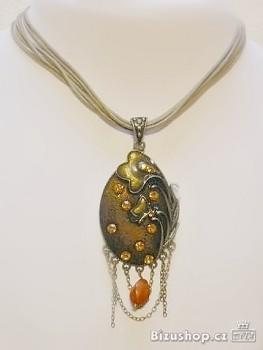 Náhrdelník smaltový oranž 1908