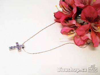 Řetízek s přívěskem Křížek, fialové kameny 697301