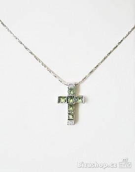 Řetízek s přívěskem zelený křížek 697303