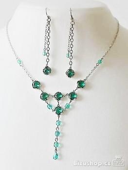Souprava náhrdelník a náušnice zelené 32298