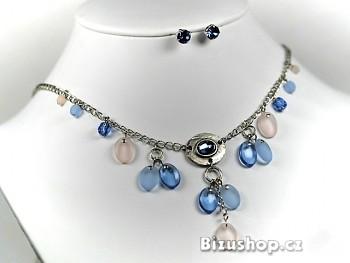 Souprava náhrdelník náušnice modrorůžové 2501