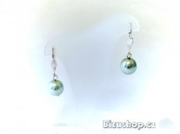 Visací náušnice perličky zelené 617