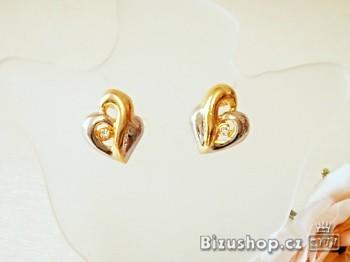 Náušnice zlatostříbrné Srdíčka 5481