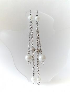 Zyta Náušnice visací bílá perlička 7857