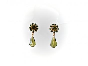 Náušnice štrasové kytičky, zelené 30109, Jablonecká bižuterie